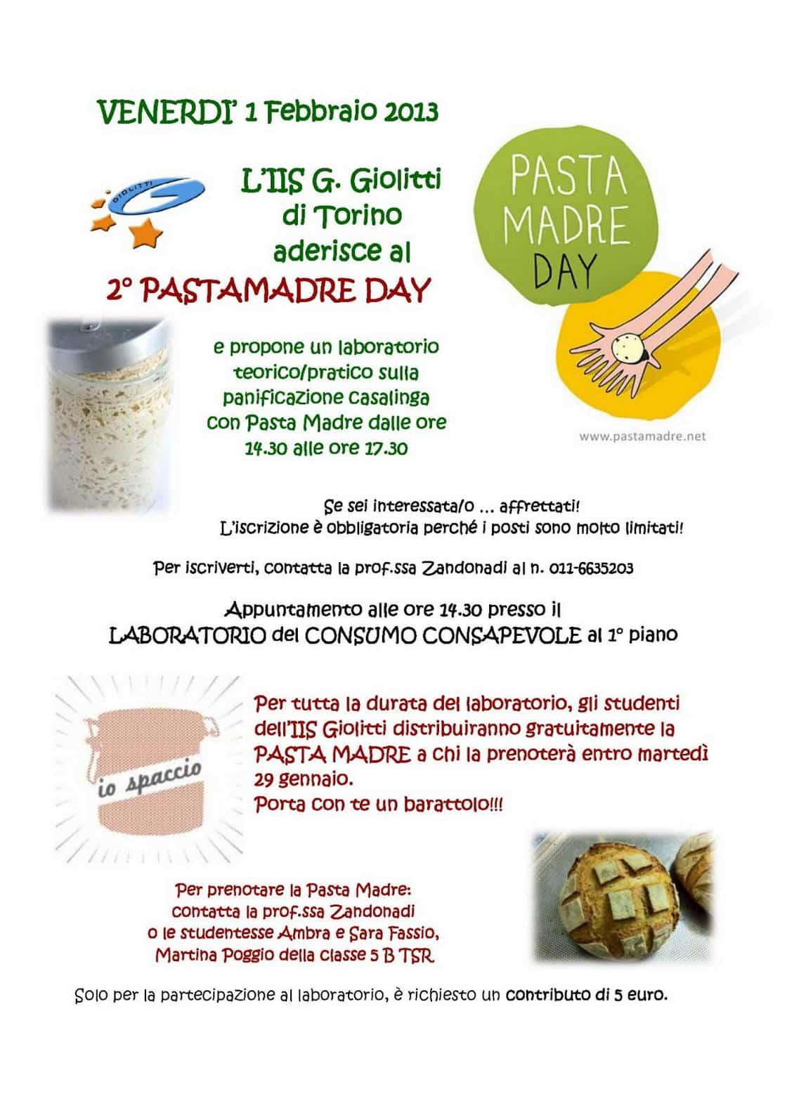 Torino, 1 febbraio - Il Pasta Madre Day a scuola