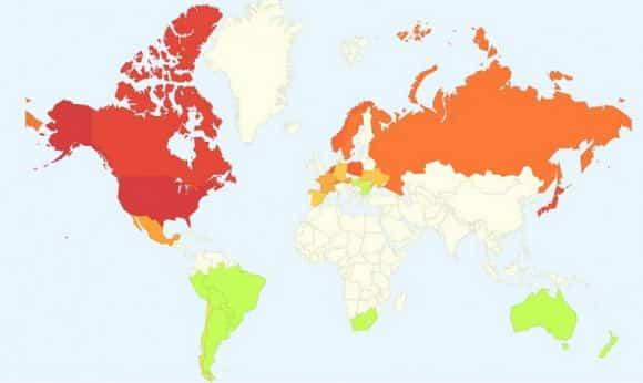 La mappa influenzale del mondo secondo i trend di Google