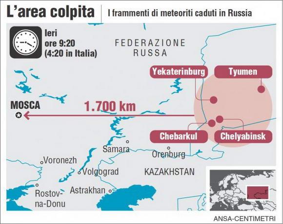 Russia la pioggia di meteoriti causa 1200 feriti in 6 città esplosione pari a una bomba atomica
