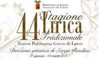 """44^ Stagione Lirica della Provincia di Lecce: domani la presentazione della """"Prima"""""""