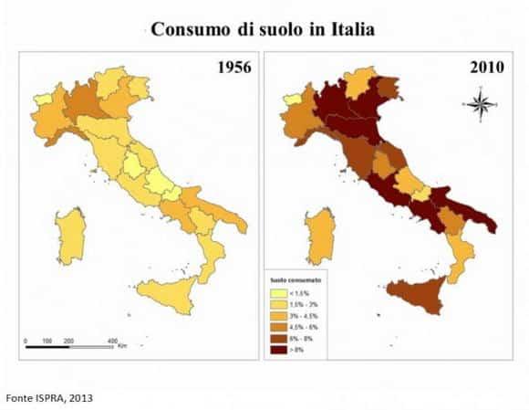 Consumo di suolo fertile in Italia: 7,2 m² al secondo per oltre 50 anni