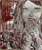 I quadri dipinti col vino in mostra a Matera presso il Ristorante San Biagio