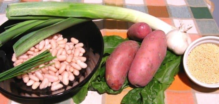 Polpette di miglio, patate rosse e bietole con crema di cannellini e porri