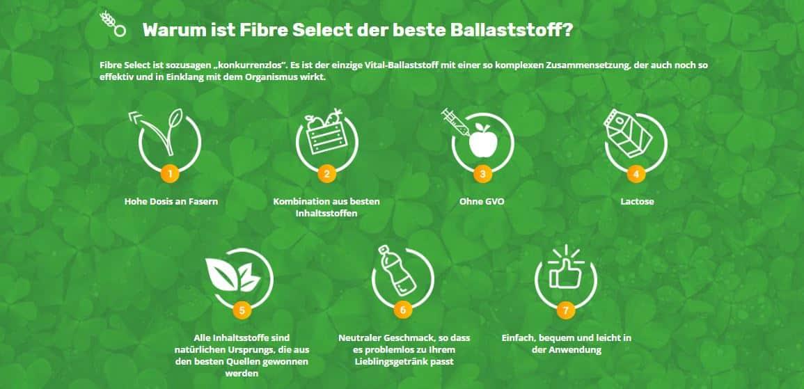 Fibre Select: Entschlaken des Organismus mithilfe der Nahrungserganzungsmittel